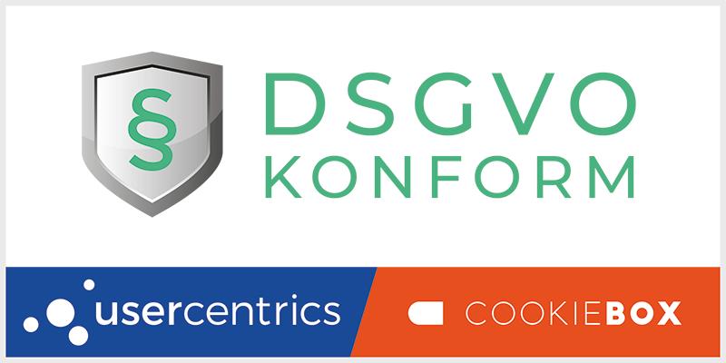 Siegel DSGVO-konform mit Cookiebox und Usercentrics