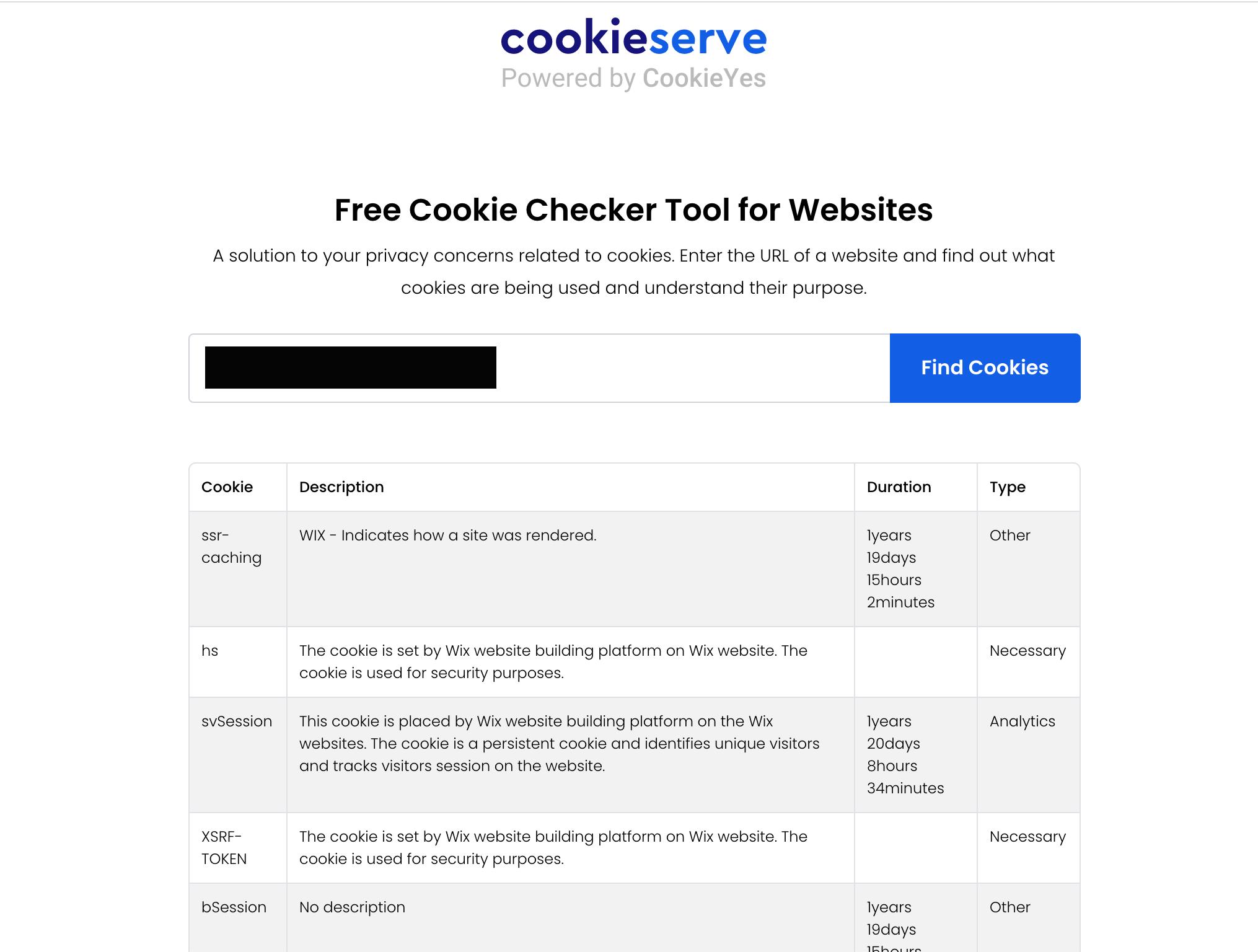 Cookieserve Cookie Check